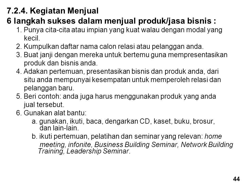 7.2.4.Kegiatan Menjual 6 langkah sukses dalam menjual produk/jasa bisnis : 1.