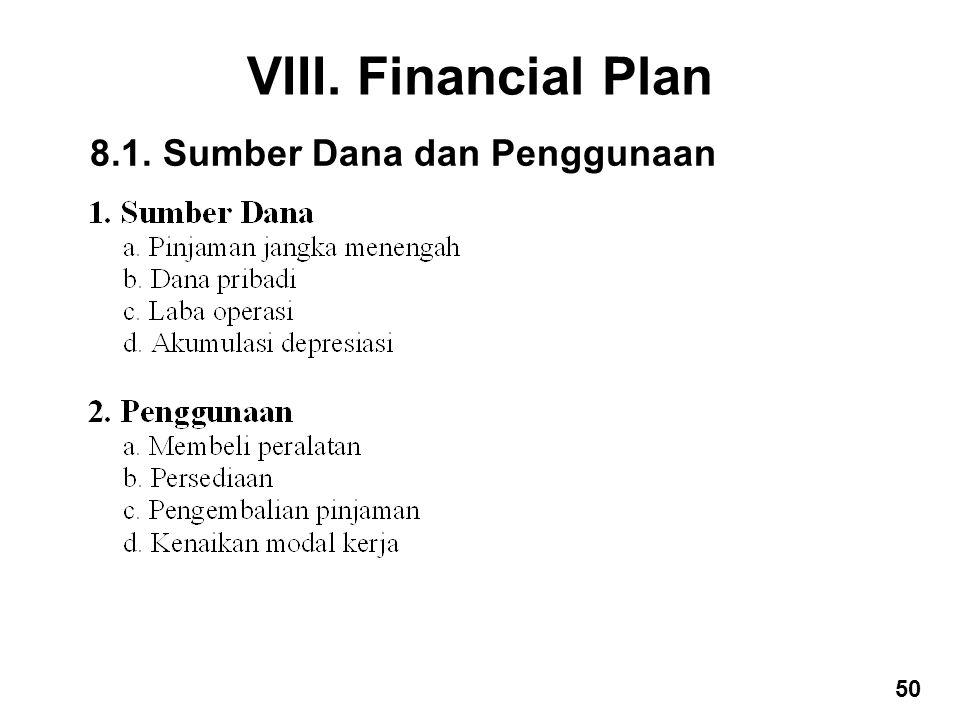 VIII. Financial Plan 8.1. Sumber Dana dan Penggunaan 50