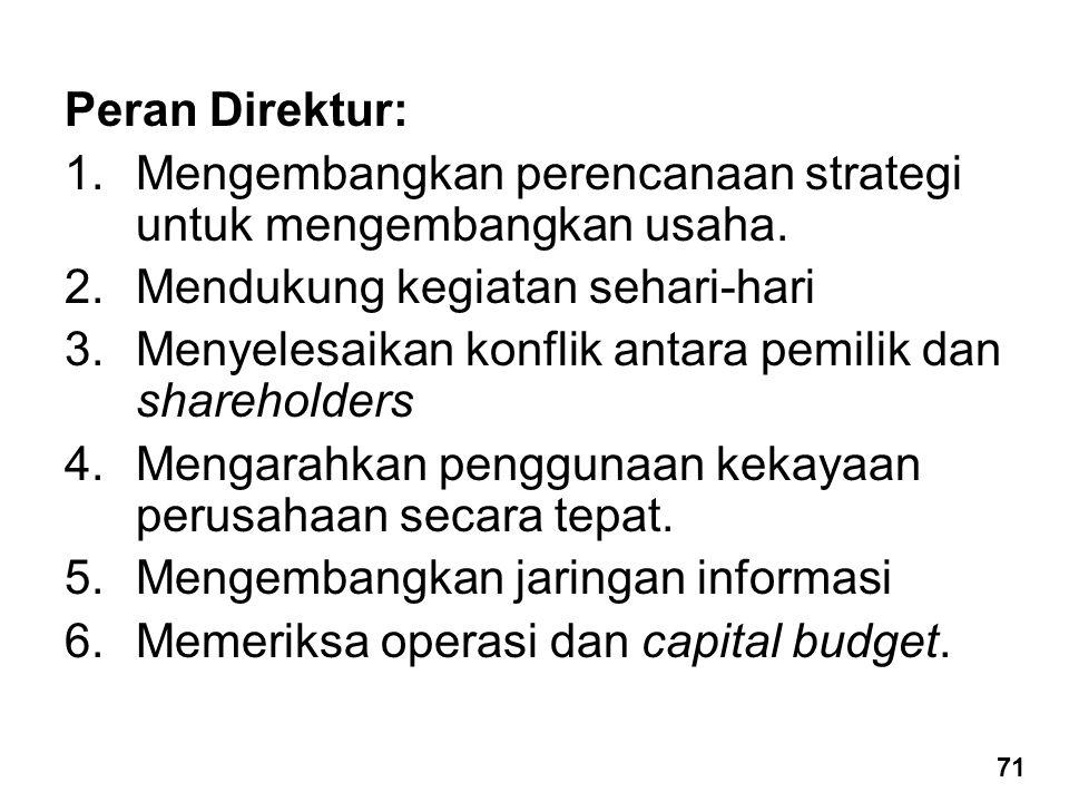 Peran Direktur: 1.Mengembangkan perencanaan strategi untuk mengembangkan usaha. 2.Mendukung kegiatan sehari-hari 3.Menyelesaikan konflik antara pemili