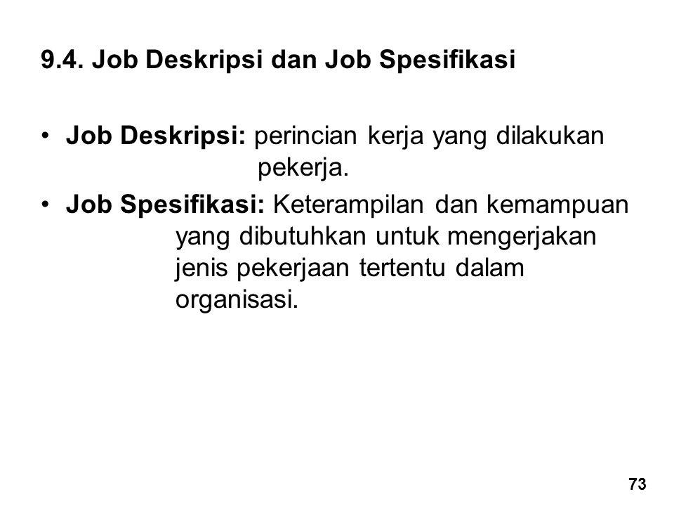 9.4. Job Deskripsi dan Job Spesifikasi Job Deskripsi: perincian kerja yang dilakukan pekerja. Job Spesifikasi: Keterampilan dan kemampuan yang dibutuh