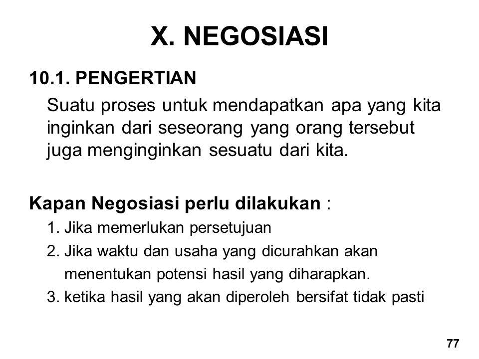 X. NEGOSIASI 10.1. PENGERTIAN Suatu proses untuk mendapatkan apa yang kita inginkan dari seseorang yang orang tersebut juga menginginkan sesuatu dari