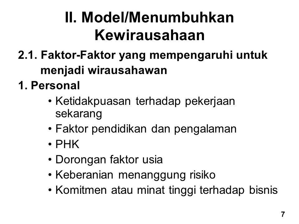 II. Model/Menumbuhkan Kewirausahaan 2.1. Faktor-Faktor yang mempengaruhi untuk menjadi wirausahawan 1. Personal Ketidakpuasan terhadap pekerjaan sekar
