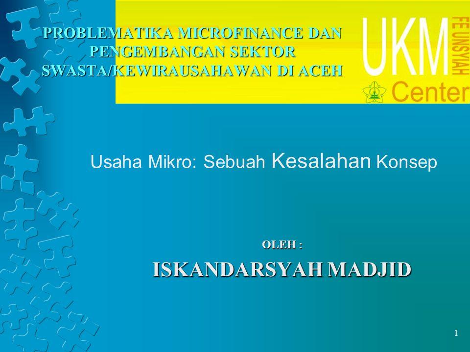 12 MICROFINANCE DI INDONESIA Program keuangan mikro pertama sekali diluncurkan pada tahun 1898 yang dikenal dengan Badan Kredit Desa (BKD) Sejak 1994 pemerintah telah merubah menjadi Tempat Pelayanan Simpan Pinjam (TPSP) dibawah payung Koperasi Unit Desa (KUS) Kredit Usaha Tani (KUT) Kredit Umum Perdesaan (KUPEDES) Kredit Usaha Kecil (KUK) Badan Kredit Kecamatan (BKK), LKK, BKPD, KURK, Lumbung Pitih Nagari, LPD PKK (sejak 1967)