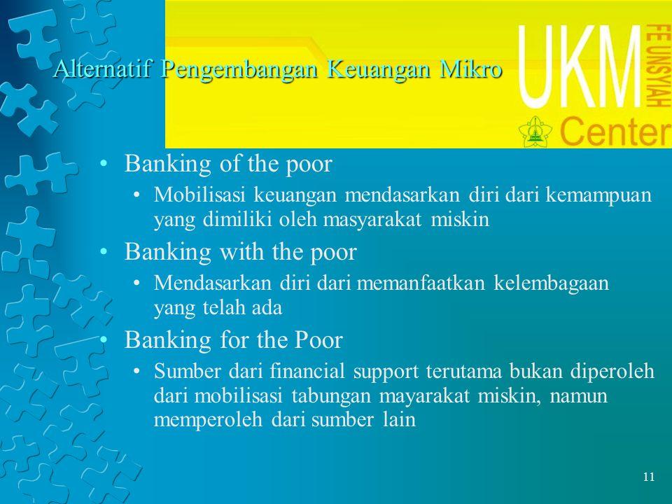11 Alternatif Pengembangan Keuangan Mikro Banking of the poor Mobilisasi keuangan mendasarkan diri dari kemampuan yang dimiliki oleh masyarakat miskin