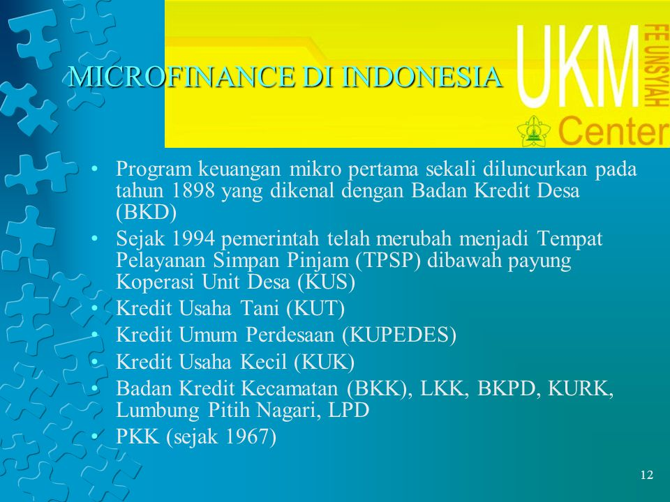 12 MICROFINANCE DI INDONESIA Program keuangan mikro pertama sekali diluncurkan pada tahun 1898 yang dikenal dengan Badan Kredit Desa (BKD) Sejak 1994