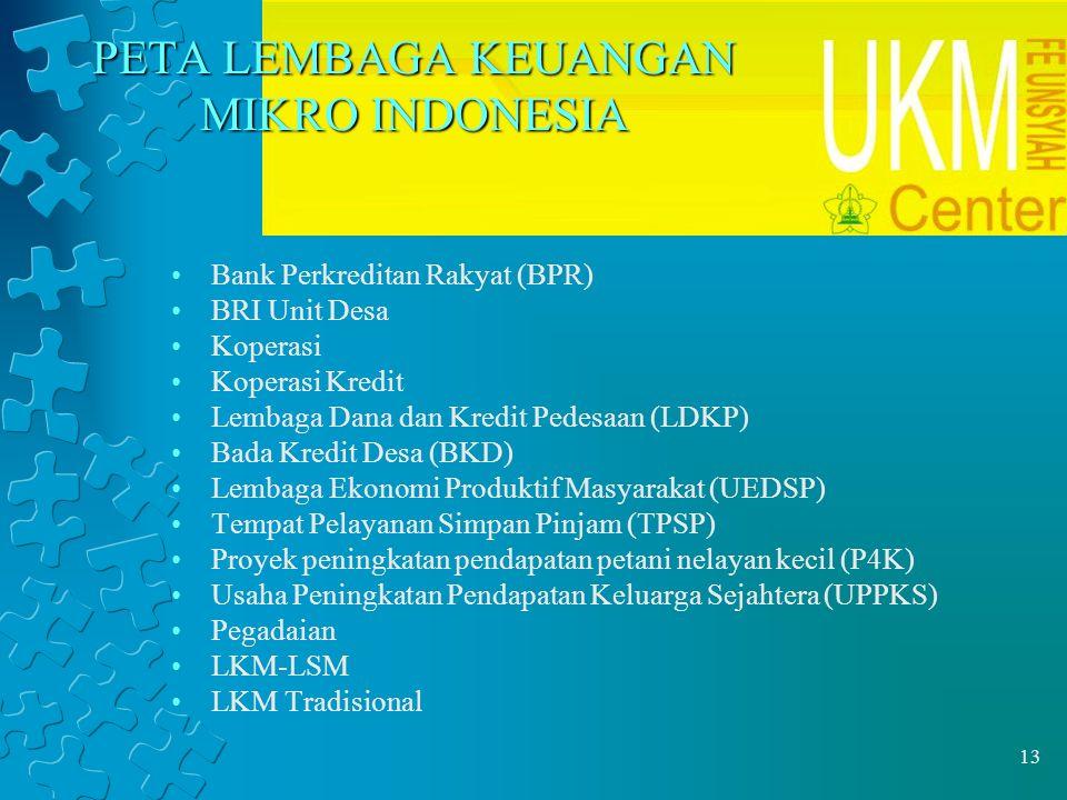 13 PETA LEMBAGA KEUANGAN MIKRO INDONESIA Bank Perkreditan Rakyat (BPR) BRI Unit Desa Koperasi Koperasi Kredit Lembaga Dana dan Kredit Pedesaan (LDKP)