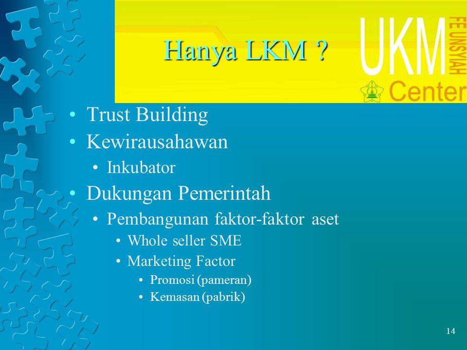 14 Hanya LKM ? Trust Building Kewirausahawan Inkubator Dukungan Pemerintah Pembangunan faktor-faktor aset Whole seller SME Marketing Factor Promosi (p