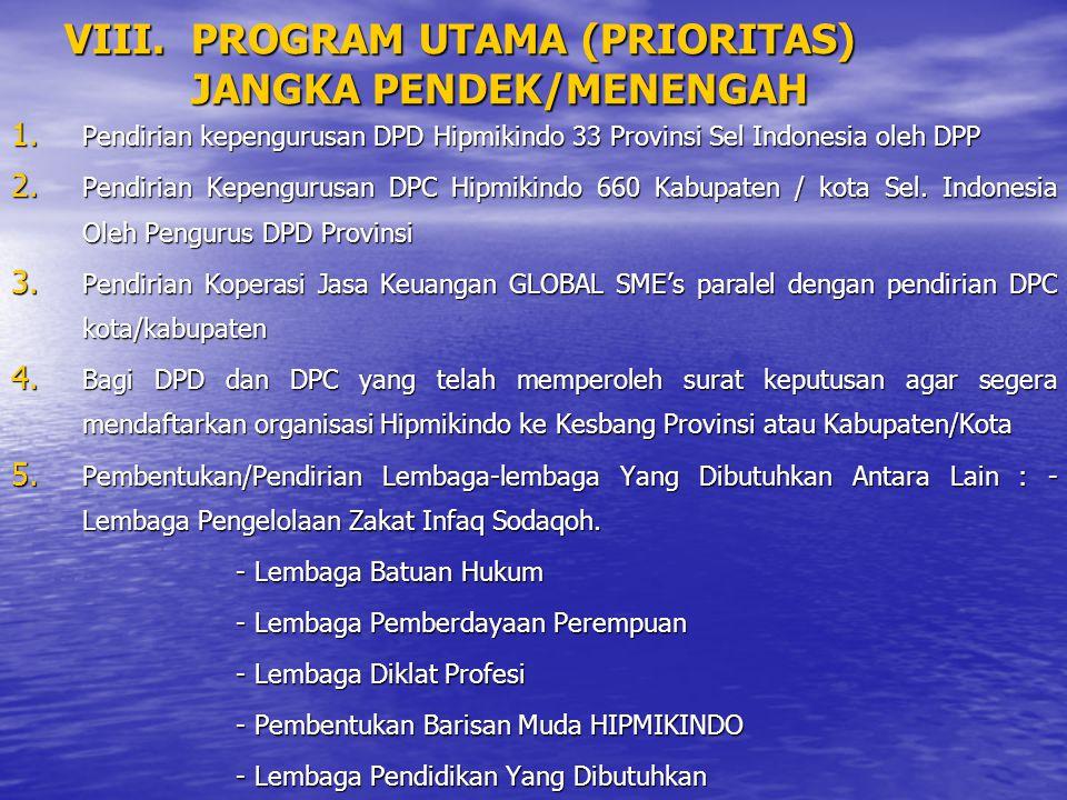 VIII. PROGRAM UTAMA (PRIORITAS) JANGKA PENDEK/MENENGAH 1. Pendirian kepengurusan DPD Hipmikindo 33 Provinsi Sel Indonesia oleh DPP 2. Pendirian Kepeng
