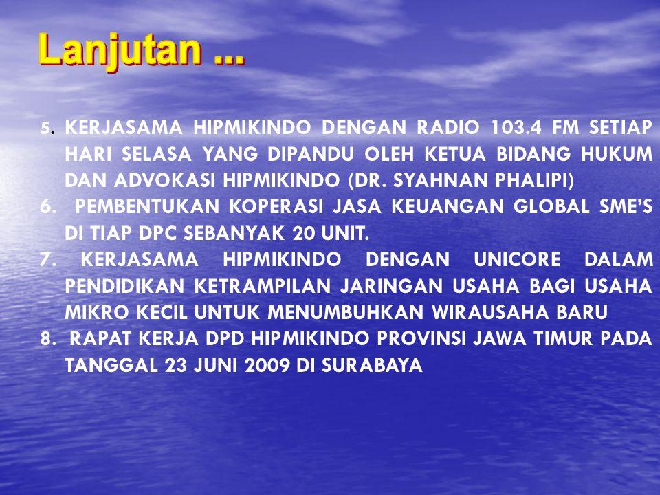 5. KERJASAMA HIPMIKINDO DENGAN RADIO 103.4 FM SETIAP HARI SELASA YANG DIPANDU OLEH KETUA BIDANG HUKUM DAN ADVOKASI HIPMIKINDO (DR. SYAHNAN PHALIPI) 6.