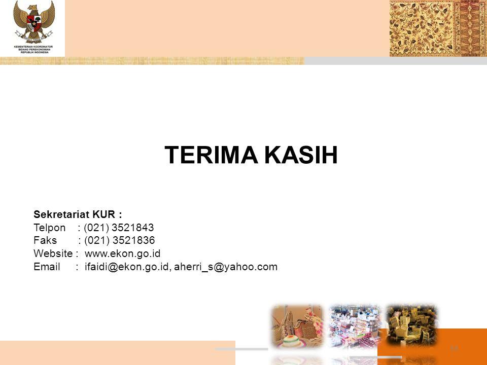 TERIMA KASIH Sekretariat KUR : Telpon : (021) 3521843 Faks : (021) 3521836 Website : www.ekon.go.id Email : ifaidi@ekon.go.id, aherri_s@yahoo.com 33