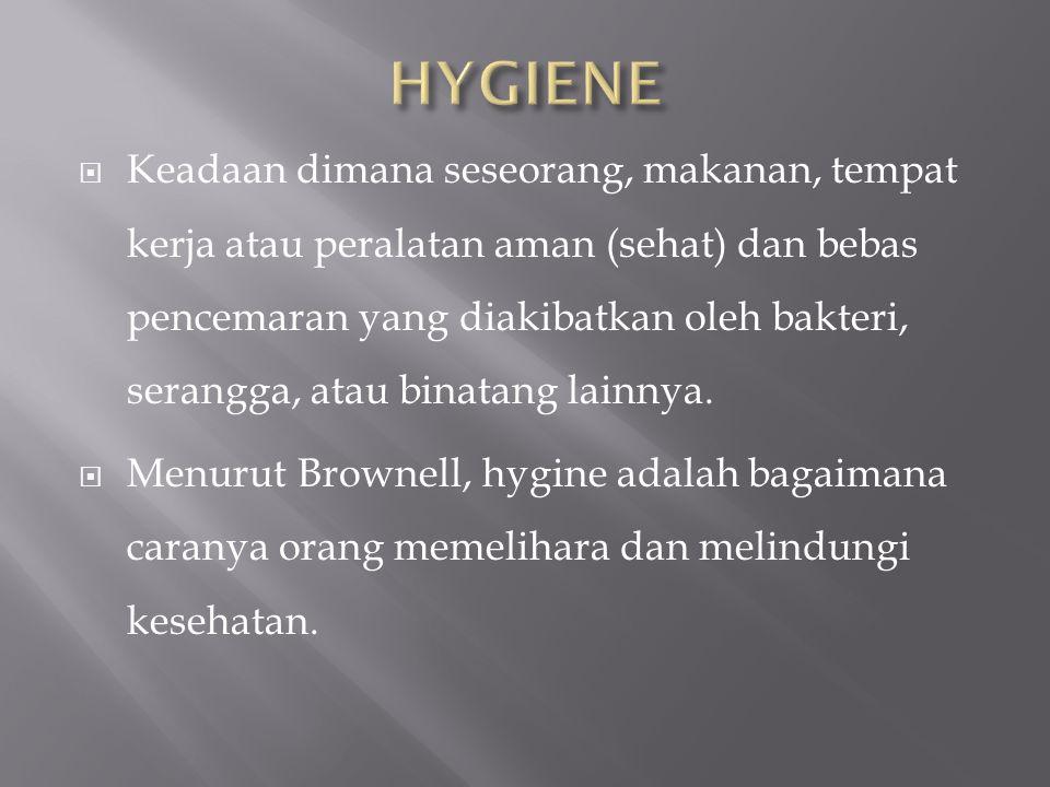  Menurut Gosh, hygiene adalah suatu ilmu kesehatan yang mencakup seluruh factor yang membantu / mendorong adanya kehidupan yang sehat baik perorangan maupun melalui masyarakat.