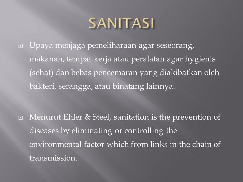  Upaya menjaga pemeliharaan agar seseorang, makanan, tempat kerja atau peralatan agar hygienis (sehat) dan bebas pencemaran yang diakibatkan oleh bak