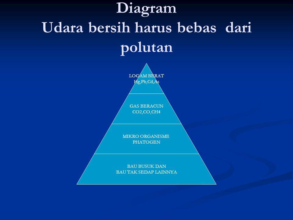 Diagram Udara bersih harus bebas dari polutan LOGAM BERAT Hg,Pb,Cd,As GAS BERACUN CO2,CO,CH4 MIKRO ORGANISME PHATOGEN BAU BUSUK DAN BAU TAK SEDAP LAIN