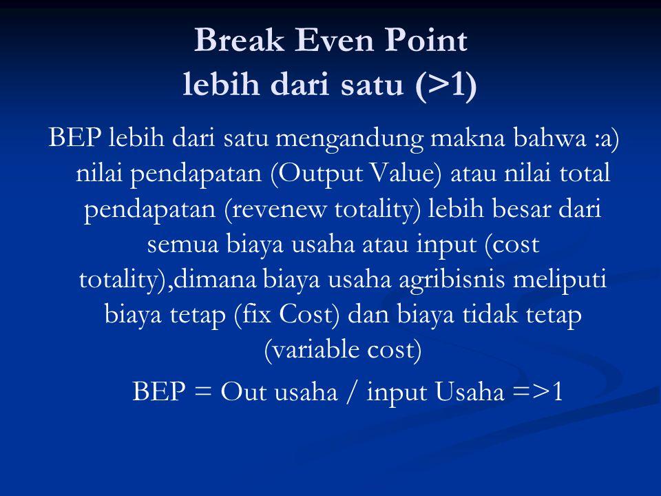 Break Even Point lebih dari satu (>1) BEP lebih dari satu mengandung makna bahwa :a) nilai pendapatan (Output Value) atau nilai total pendapatan (reve