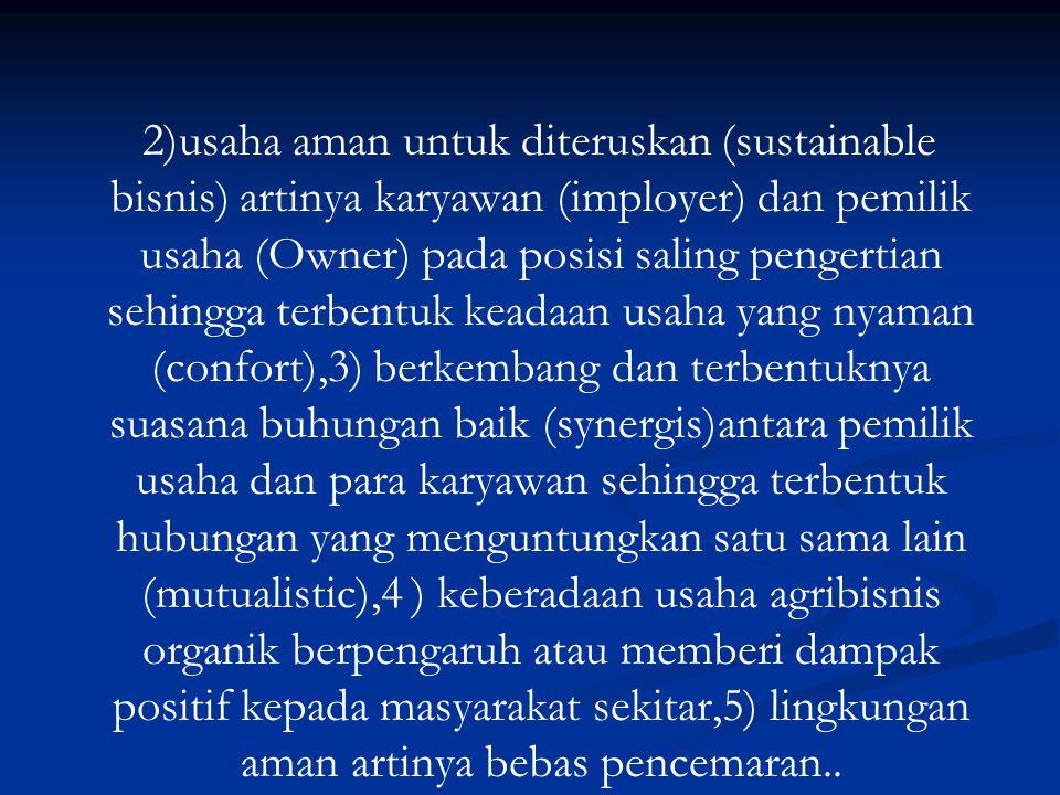2)usaha aman untuk diteruskan (sustainable bisnis) artinya karyawan (imployer) dan pemilik usaha (Owner) pada posisi saling pengertian sehingga terben