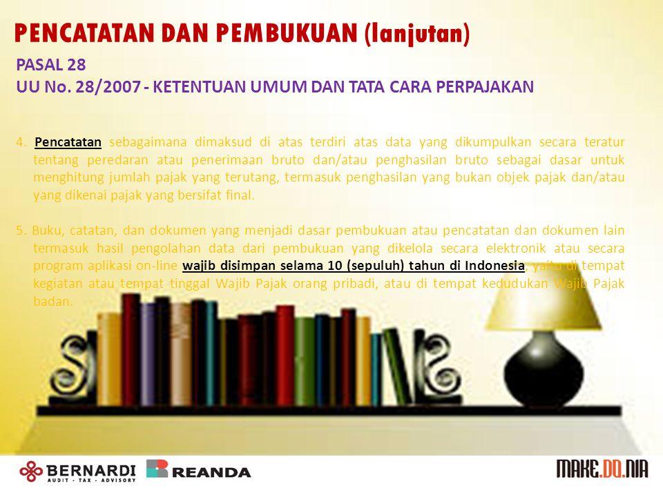 PASAL 28 UU No. 28/2007 - KETENTUAN UMUM DAN TATA CARA PERPAJAKAN 4.