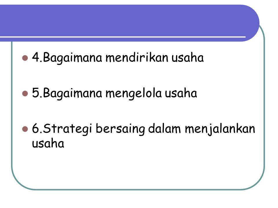 4.Bagaimana mendirikan usaha 5.Bagaimana mengelola usaha 6.Strategi bersaing dalam menjalankan usaha