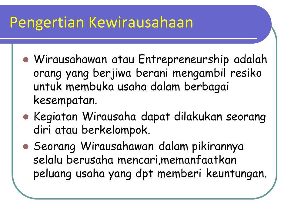 Pengertian Kewirausahaan Wirausahawan atau Entrepreneurship adalah orang yang berjiwa berani mengambil resiko untuk membuka usaha dalam berbagai kesem