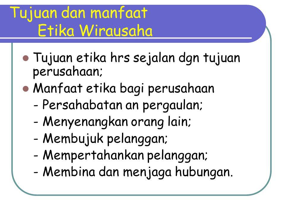 Tujuan dan manfaat Etika Wirausaha Tujuan etika hrs sejalan dgn tujuan perusahaan; Manfaat etika bagi perusahaan - Persahabatan an pergaulan; - Menyen
