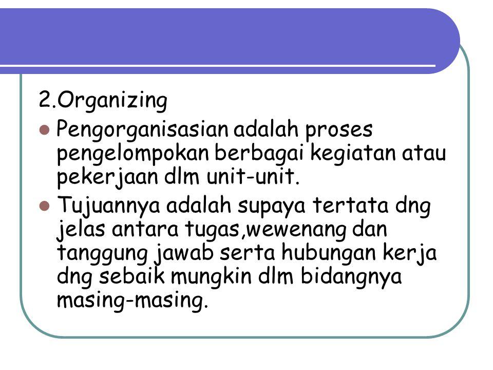 2.Organizing Pengorganisasian adalah proses pengelompokan berbagai kegiatan atau pekerjaan dlm unit-unit. Tujuannya adalah supaya tertata dng jelas an