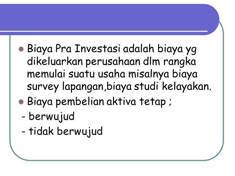 Biaya Pra Investasi adalah biaya yg dikeluarkan perusahaan dlm rangka memulai suatu usaha misalnya biaya survey lapangan,biaya studi kelayakan. Biaya