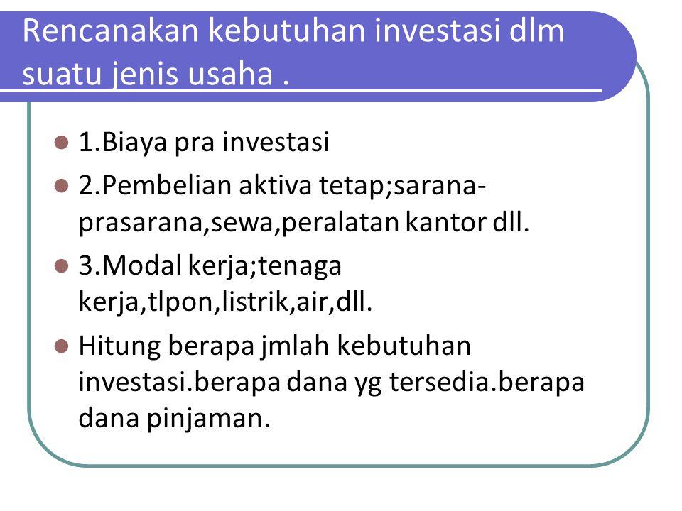 Rencanakan kebutuhan investasi dlm suatu jenis usaha. 1.Biaya pra investasi 2.Pembelian aktiva tetap;sarana- prasarana,sewa,peralatan kantor dll. 3.Mo