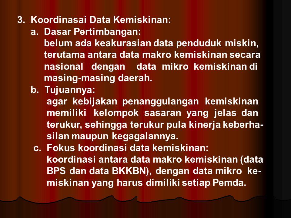 3. Koordinasai Data Kemiskinan: a. Dasar Pertimbangan: belum ada keakurasian data penduduk miskin, terutama antara data makro kemiskinan secara nasion