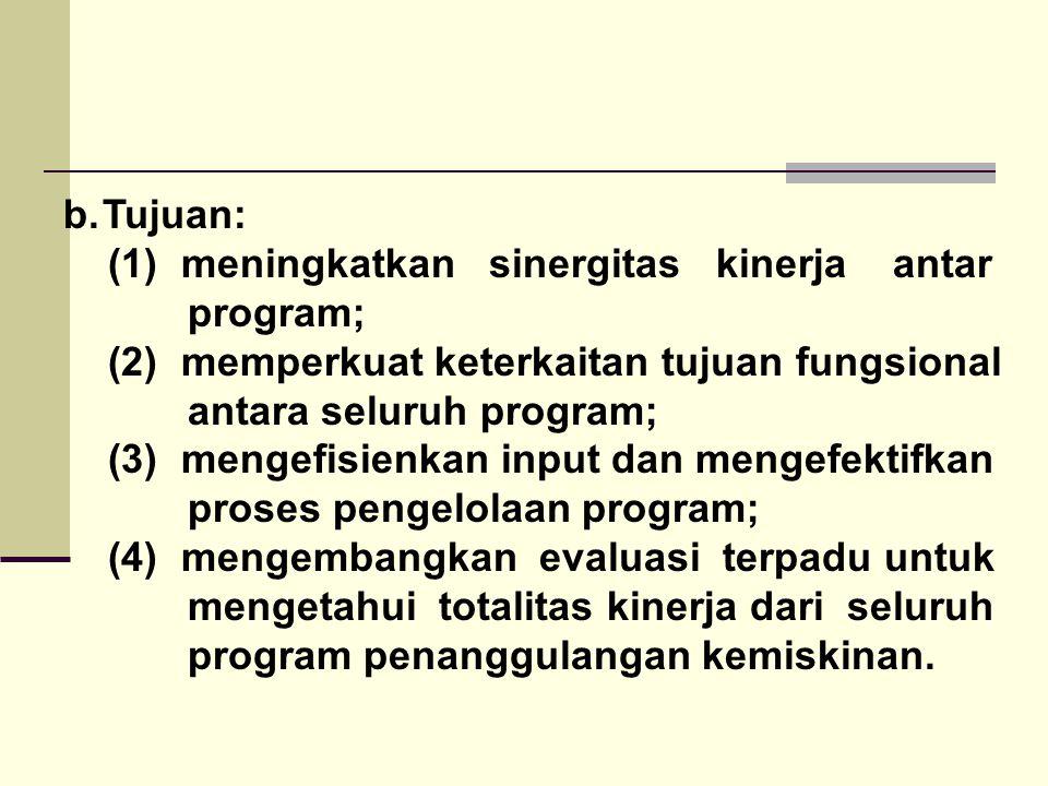 b.Tujuan: (1) meningkatkan sinergitas kinerja antar program; (2) memperkuat keterkaitan tujuan fungsional antara seluruh program; (3) mengefisienkan i