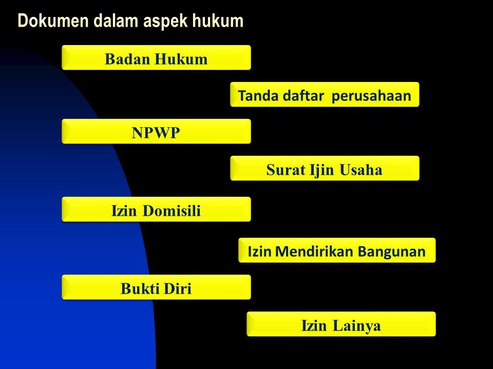Dokumen dalam aspek hukum Tanda daftar perusahaan NPWP Surat Ijin Usaha Izin Domisili Bukti Diri Izin Lainya Badan Hukum Izin Mendirikan Bangunan