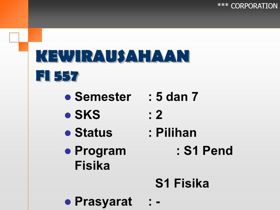 *** CORPORATION KEWIRAUSAHAAN FI 557 Semester: 5 dan 7 SKS: 2 Status: Pilihan Program: S1 Pend Fisika S1 Fisika Prasyarat: -