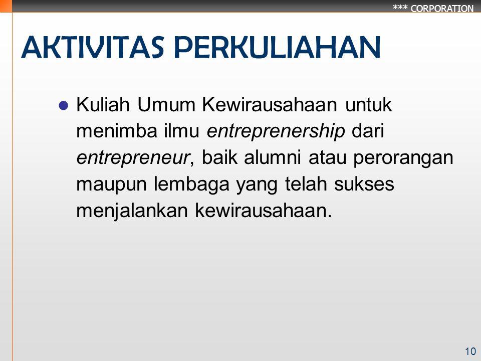 *** CORPORATION 10 AKTIVITAS PERKULIAHAN Kuliah Umum Kewirausahaan untuk menimba ilmu entreprenership dari entrepreneur, baik alumni atau perorangan maupun lembaga yang telah sukses menjalankan kewirausahaan.