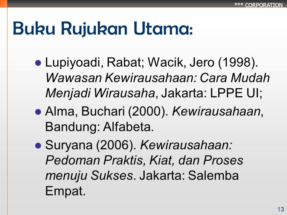 *** CORPORATION 13 Buku Rujukan Utama: Lupiyoadi, Rabat; Wacik, Jero (1998).
