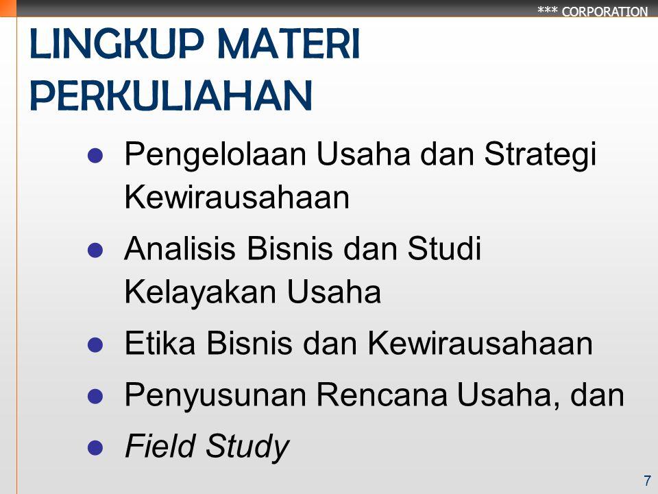 *** CORPORATION 7 LINGKUP MATERI PERKULIAHAN Pengelolaan Usaha dan Strategi Kewirausahaan Analisis Bisnis dan Studi Kelayakan Usaha Etika Bisnis dan Kewirausahaan Penyusunan Rencana Usaha, dan Field Study