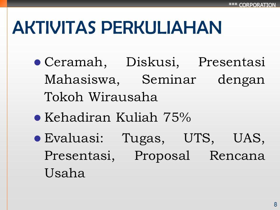 *** CORPORATION 8 AKTIVITAS PERKULIAHAN Ceramah, Diskusi, Presentasi Mahasiswa, Seminar dengan Tokoh Wirausaha Kehadiran Kuliah 75% Evaluasi: Tugas, UTS, UAS, Presentasi, Proposal Rencana Usaha