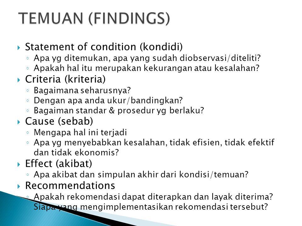  Statement of condition (kondidi) ◦ Apa yg ditemukan, apa yang sudah diobservasi/diteliti.