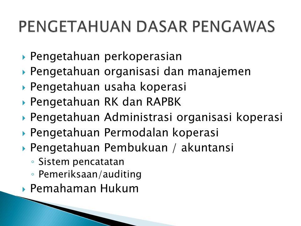  Pengetahuan perkoperasian  Pengetahuan organisasi dan manajemen  Pengetahuan usaha koperasi  Pengetahuan RK dan RAPBK  Pengetahuan Administrasi organisasi koperasi  Pengetahuan Permodalan koperasi  Pengetahuan Pembukuan / akuntansi ◦ Sistem pencatatan ◦ Pemeriksaan/auditing  Pemahaman Hukum