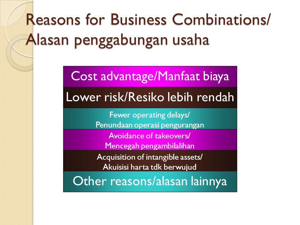 Business Combinations A business combination terjadi ketika dua atau lebih entitas usaha yang terpisah bergabung menjadi satu entitas usaha.