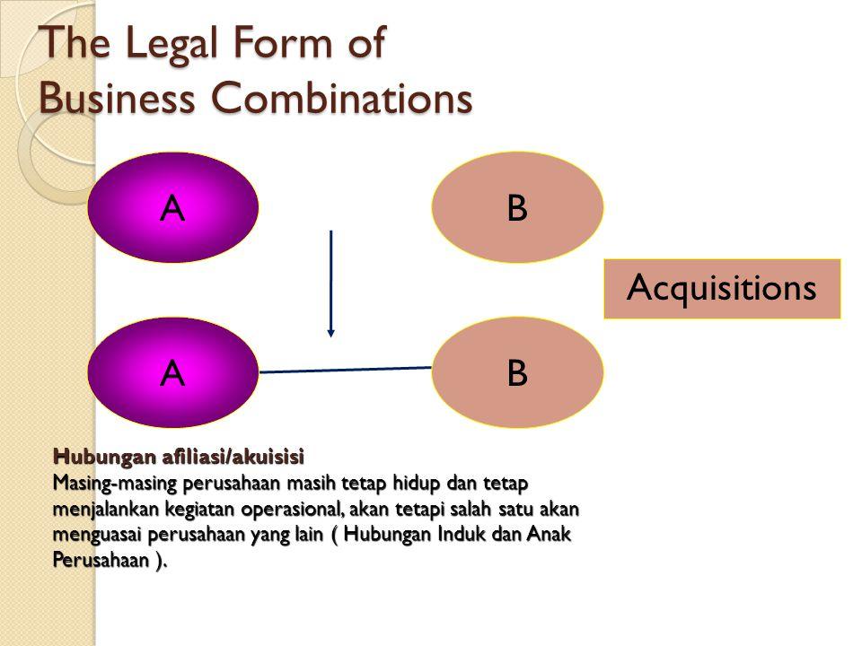 The Legal Form of Business Combinations AB C Consolidation Konsolidasi Didirikan sebuah perusahaan baru untuk mengambil alih semua aktiva dan hutang p