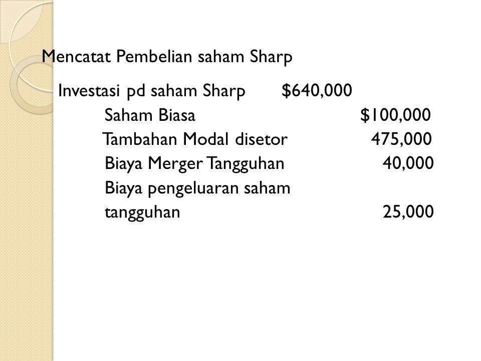 Penggabungan Usaha melalui pembelian saham Jika Point menukarkan 10.000 lembar saham nya dengan total nilai pasar 600.000 untuk semua saham sharp dala