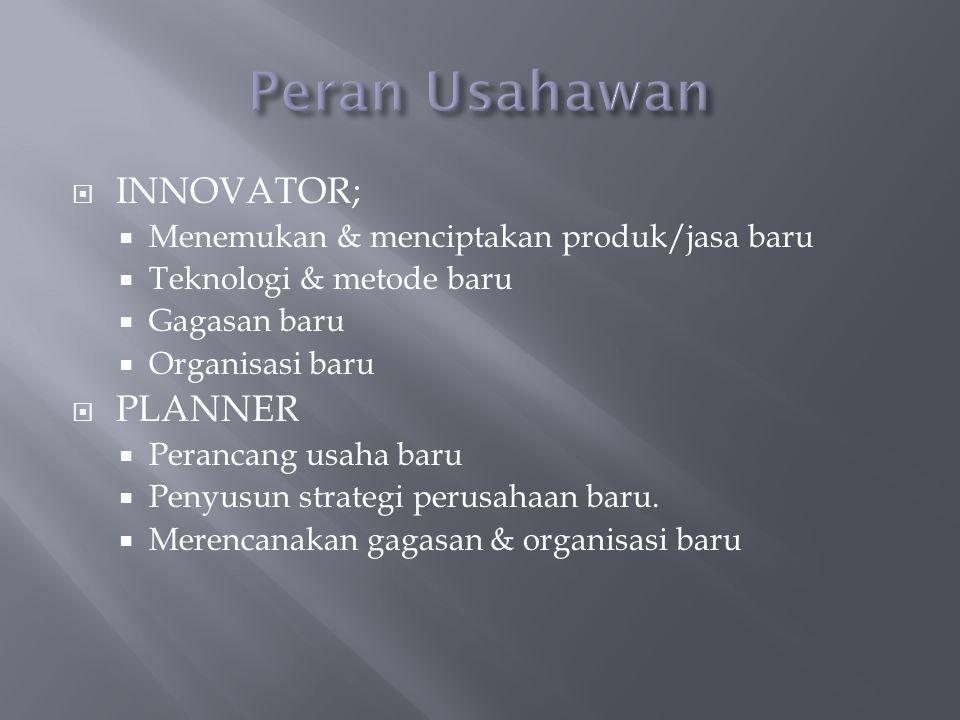  INNOVATOR;  Menemukan & menciptakan produk/jasa baru  Teknologi & metode baru  Gagasan baru  Organisasi baru  PLANNER  Perancang usaha baru  Penyusun strategi perusahaan baru.