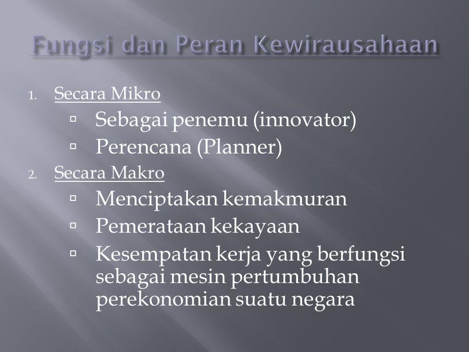 1.Secara Mikro  Sebagai penemu (innovator)  Perencana (Planner) 2.