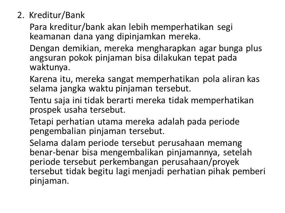 2. Kreditur/Bank Para kreditur/bank akan lebih memperhatikan segi keamanan dana yang dipinjamkan mereka. Dengan demikian, mereka mengharapkan agar bun