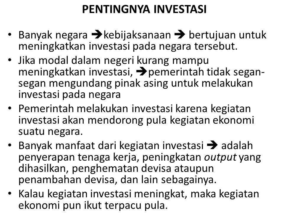 PENTINGNYA INVESTASI Banyak negara  kebijaksanaan  bertujuan untuk meningkatkan investasi pada negara tersebut. Jika modal dalam negeri kurang mampu