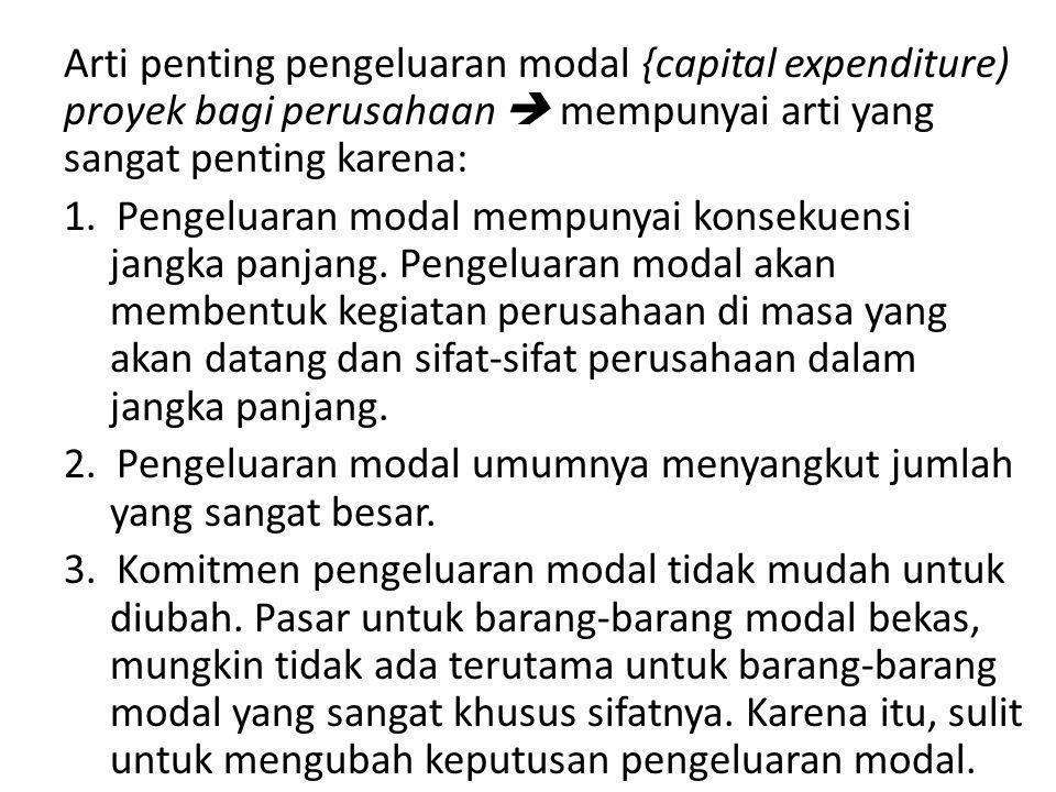 Arti penting pengeluaran modal {capital expenditure) proyek bagi perusahaan  mempunyai arti yang sangat penting karena: 1. Pengeluaran modal mempunya