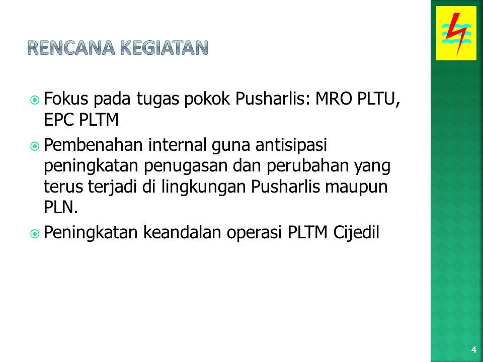  Fokus pada tugas pokok Pusharlis: MRO PLTU, EPC PLTM  Pembenahan internal guna antisipasi peningkatan penugasan dan perubahan yang terus terjadi di lingkungan Pusharlis maupun PLN.