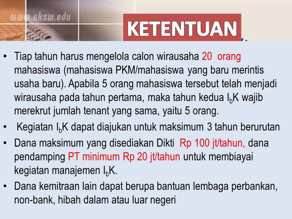 Tiap tahun harus mengelola calon wirausaha 20 orang mahasiswa (mahasiswa PKM/mahasiswa yang baru merintis usaha baru).