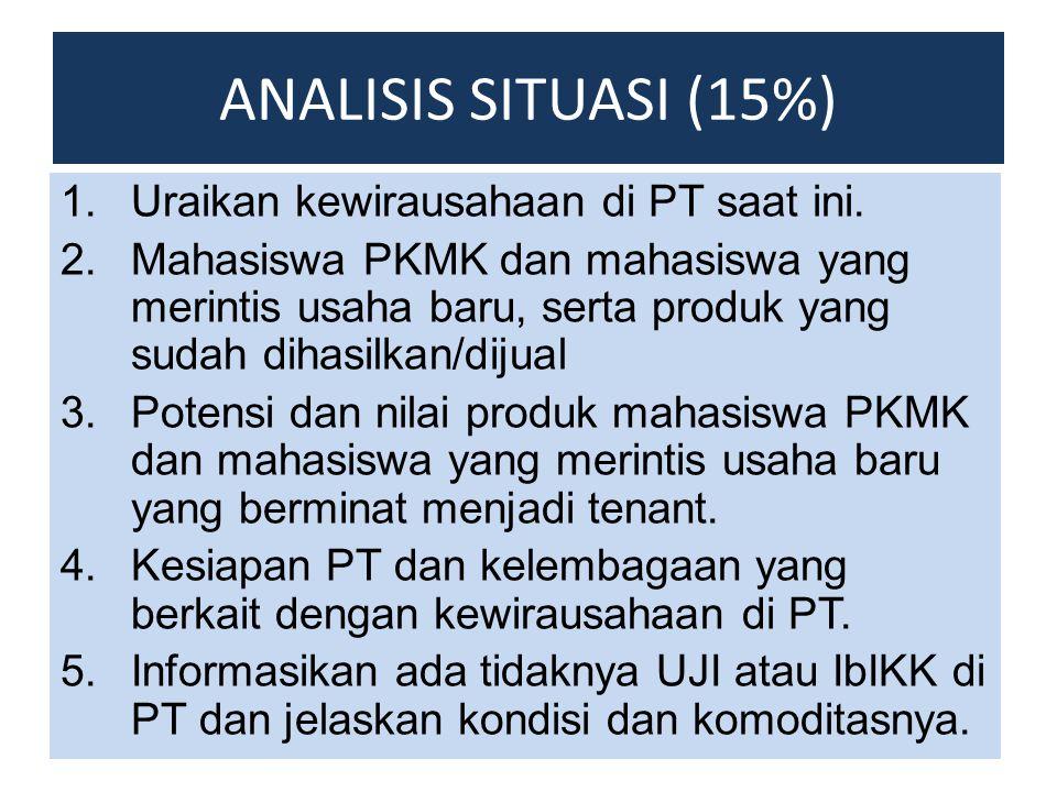 ANALISIS SITUASI (15%) 1.Uraikan kewirausahaan di PT saat ini. 2.Mahasiswa PKMK dan mahasiswa yang merintis usaha baru, serta produk yang sudah dihasi