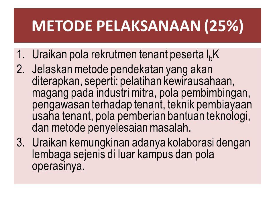 METODE PELAKSANAAN (25%) 1.Uraikan pola rekrutmen tenant peserta I b K 2.Jelaskan metode pendekatan yang akan diterapkan, seperti: pelatihan kewirausa