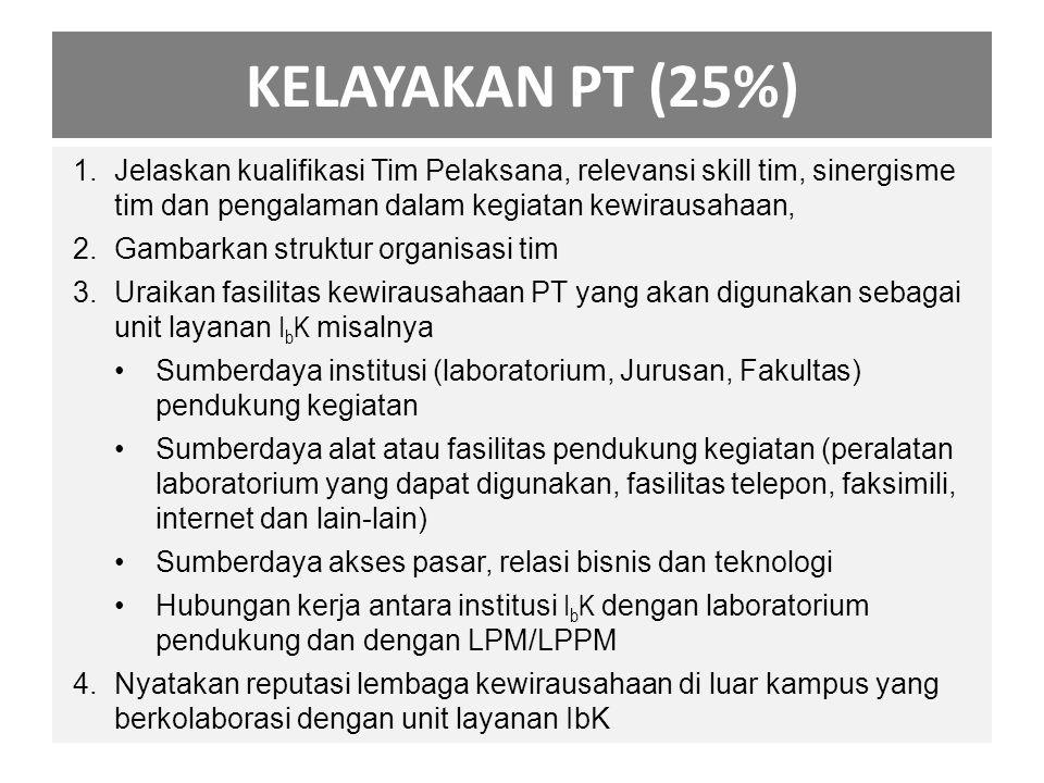 KELAYAKAN PT (25%) 1.Jelaskan kualifikasi Tim Pelaksana, relevansi skill tim, sinergisme tim dan pengalaman dalam kegiatan kewirausahaan, 2.Gambarkan