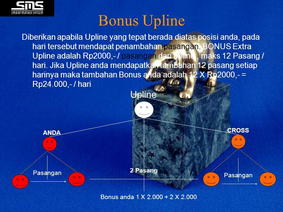 Bonus Upline Diberikan apabila Upline yang tepat berada diatas posisi anda, pada hari tersebut mendapat penambahan pasangan. BONUS Extra Upline adalah